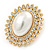 Large Crystal, Pearl Oval Shape Stud Earrings In Gold Plating - 30mm L - view 6
