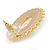 Large Crystal, Pearl Oval Shape Stud Earrings In Gold Plating - 30mm L - view 3