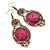 Victorian Style Magenta Acrylic Bead, Crystal Chandelier Earrings In Antique Gold Tone - 80mm L - view 8