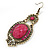 Victorian Style Magenta Acrylic Bead, Crystal Chandelier Earrings In Antique Gold Tone - 80mm L - view 3