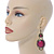 Victorian Style Magenta Acrylic Bead, Crystal Chandelier Earrings In Antique Gold Tone - 80mm L - view 2
