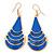 Royal Blue Enamel With Glitter Teardrop Earrings In Gold Tone - 65mm L