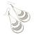 White Enamel With Glitter Teardrop Earrings In Silver Tone - 65mm L