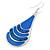 Royal Blue Enamel With Glitter Teardrop Earrings In Silver Tone - 65mm L - view 2