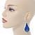 Royal Blue Enamel With Glitter Teardrop Earrings In Silver Tone - 65mm L - view 3