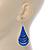 Royal Blue Enamel With Glitter Teardrop Earrings In Silver Tone - 65mm L - view 4