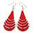 Red Enamel With Glitter Teardrop Earrings In Silver Tone - 65mm L