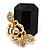 Black Square Glass with Rose Motif Stud Earrings In Gold Plating - 25mm L - view 6