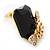 Black Square Glass with Rose Motif Stud Earrings In Gold Plating - 25mm L - view 7