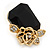 Black Square Glass with Rose Motif Stud Earrings In Gold Plating - 25mm L - view 3