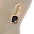 Black Square Glass with Rose Motif Stud Earrings In Gold Plating - 25mm L - view 5