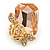 Champagne Square Glass with Rose Motif Stud Earrings In Gold Plating - 25mm L - view 5