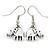Small Elephant Drop Earrings In Silver Tone - 30mm L