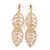 Gold Plated Clear Austrian Crystal Double Leaf Drop Earrings - 75mm L