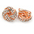 Rose Gold Tone Crystal Knot Clip On Earrings - 20mm D - view 5