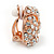 Rose Gold Tone Crystal Knot Clip On Earrings - 20mm D - view 2