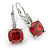 Pear Cut Red CZ/ Clear Crystal Drop Earrings In Rhodium Plating With Leverback Closure - 30mm L
