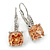Pear Cut Champagne CZ/ Clear Crystal Drop Earrings In Rhodium Plating With Leverback Closure - 30mm L