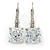 Pear Cut Clear CZ, Crystal Drop Earrings In Rhodium Plating With Leverback Closure - 30mm L - view 5