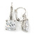 Pear Cut Clear CZ, Crystal Drop Earrings In Rhodium Plating With Leverback Closure - 30mm L - view 7