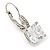 Pear Cut Clear CZ, Crystal Drop Earrings In Rhodium Plating With Leverback Closure - 30mm L - view 3
