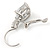 Pear Cut Clear CZ, Crystal Drop Earrings In Rhodium Plating With Leverback Closure - 30mm L - view 4