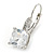 Pear Cut Clear CZ, Crystal Drop Earrings In Rhodium Plating With Leverback Closure - 30mm L - view 8