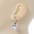 Pear Cut Clear CZ, Crystal Drop Earrings In Rhodium Plating With Leverback Closure - 30mm L - view 2