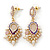 Pearl, Crystal Bead Drop Earrings In Gold Plating (Pink, White, Purple) - 50mm L