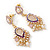 Pearl, Crystal Bead Drop Earrings In Gold Plating (Pink, White, Purple) - 50mm L - view 7