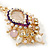 Pearl, Crystal Bead Drop Earrings In Gold Plating (Pink, White, Purple) - 50mm L - view 8