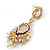 Pearl, Crystal Bead Drop Earrings In Gold Plating (Pink, White, Purple) - 50mm L - view 4