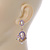 Pearl, Crystal Bead Drop Earrings In Gold Plating (Pink, White, Purple) - 50mm L - view 6