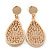 Gold Plated Floral Filigree Teardrop Earrings - 45mm L - view 5