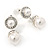Bridal/ Wedding White Glass Pearl, Clear Crystal Ball Drop Earrings In Rhodium Plating - 30mm L - view 6