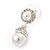 Bridal/ Wedding White Glass Pearl, Clear Crystal Ball Drop Earrings In Rhodium Plating - 30mm L - view 3