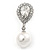 Bridal Wedding Prom Glass Pearl, Crystal Teardrop Earrings In Rhodium Plating - 30mm L - view 6
