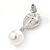 Bridal Wedding Prom Glass Pearl, Crystal Teardrop Earrings In Rhodium Plating - 30mm L - view 3