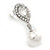 Bridal Wedding Prom Glass Pearl, Crystal Teardrop Earrings In Rhodium Plating - 30mm L - view 4