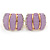 C Shape Lavender Acrylic, Clear Crystal Clip On Earrings In Gold Plating - 20mm L - view 3