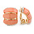 C Shape Salmon Pink  Acrylic, Clear Crystal Clip On Earrings In Gold Plating - 20mm L