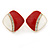 Red/ White Enamel Crystal Square Clip On Earrings In Gold Plating - 20mm - view 5
