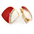 Red/ White Enamel Crystal Square Clip On Earrings In Gold Plating - 20mm - view 2