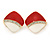 Red/ White Enamel Crystal Square Clip On Earrings In Gold Plating - 20mm - view 6