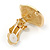 Red/ White Enamel Crystal Square Clip On Earrings In Gold Plating - 20mm - view 7
