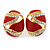 Oval Red Enamel, Clear Crystal Clip On Earrings In Gold Plating - 20mm L - view 4