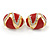 Oval Red Enamel, Clear Crystal Clip On Earrings In Gold Plating - 20mm L - view 6