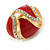 Oval Red Enamel, Clear Crystal Clip On Earrings In Gold Plating - 20mm L - view 7