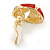 Oval Red Enamel, Clear Crystal Clip On Earrings In Gold Plating - 20mm L - view 5