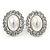 Bridal White Glass Pearl, Clear Crystal Oval Stud Earrings In Rhodium Plated Metal - 22mm L